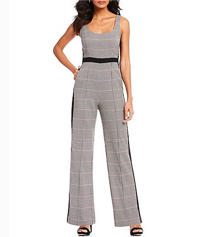 Donna Morgan Menswear Plaid Jumpsuit