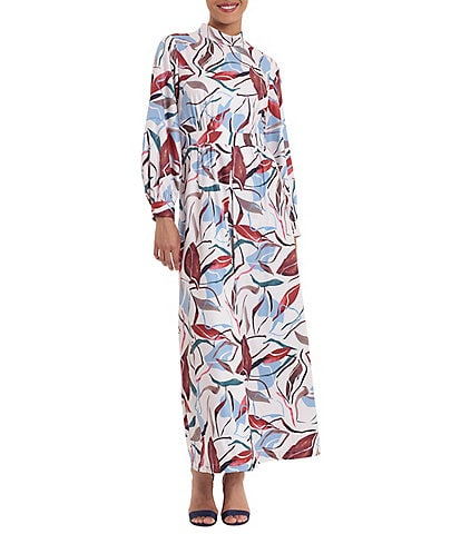 Donna Morgan Mock Neck Printed Long Sleeve Maxi Dress