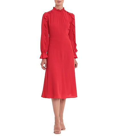 Donna Morgan Mock Neck Ruffle Sleeve Catalina Crepe Midi Dress