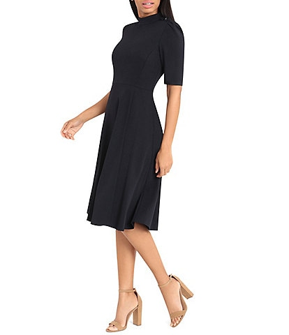 Donna Morgan Mock Neck Shoulder Button Detail Stretch Crepe Midi Dress