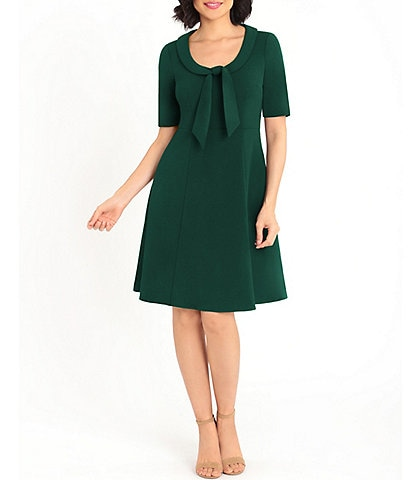 Donna Morgan Foldover Scoop Neck Tie Detail Elbow Sleeve Stretch Crepe Fit & Flare Dress