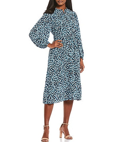 Donna Morgan Printed Georgette Belted Fit & Flare Midi Dress