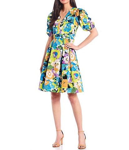 Donna Morgan Puff Sleeve Floral Print Stretch Cotton Poplin Fit & Flare Dress