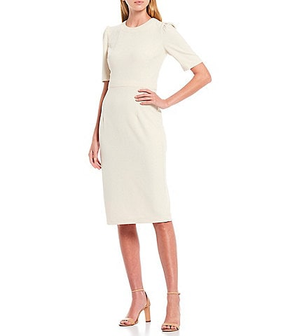 Donna Morgan Puff Sleeve Stretch Crepe Dress