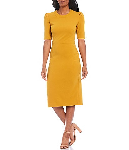 Donna Morgan Puff Sleeve Stretch Crepe Midi Dress