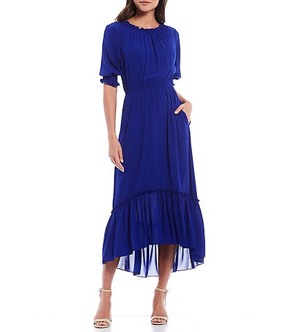 Donna Morgan Smocked Bubble Crepe Elastic Round Neck Flounce Hem Hi-Low Midi Dress