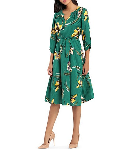 Donna Morgan Split V-Neck 3/4 Sleeve Floral Satin Jacquard Midi Dress
