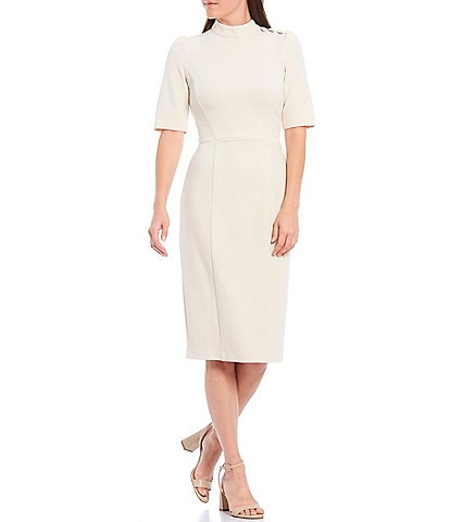 Donna Morgan Stretch Crepe Mock Neck Sheath Dress