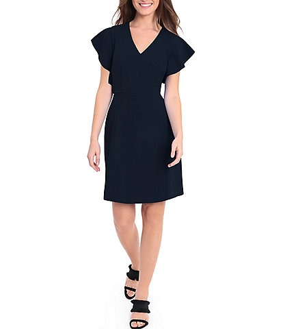 Donna Morgan Stretch Crepe V Neck Flutter Sleeve Sheath Dress
