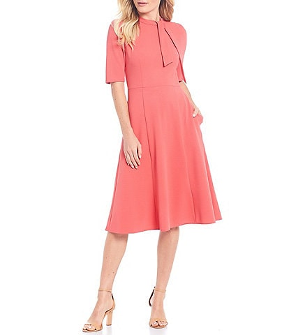 Donna Morgan Stretch Knit Crepe Tie Neck Fit & Flare Dress
