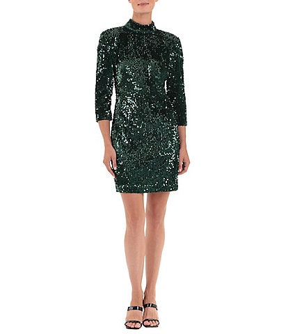 Donna Morgan Stretch Allover Sequin Velvet Open Back Mini Dress