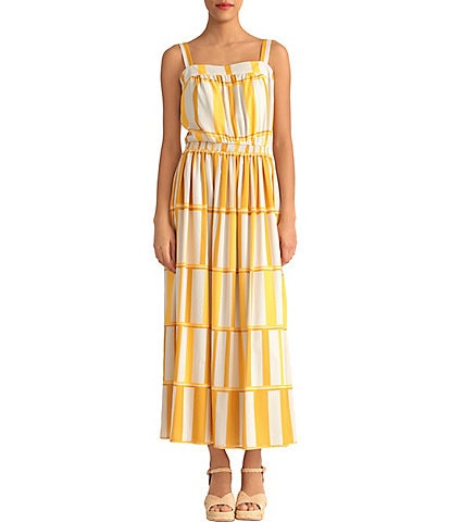 Donna Morgan Stripe Blouson Tiered Sleeveless Maxi Dress