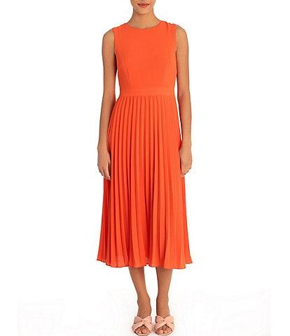 Donna Morgan Sunburst Pleated Sleeveless Jewel Neck Stretch Crepe Midi Dress