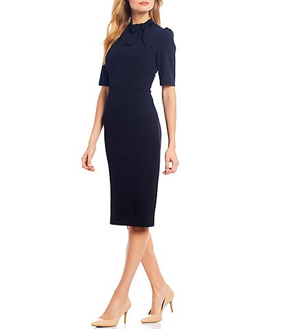 Donna Morgan Tie Neck 3/4 Sleeve Stretch Crepe Sheath Dress