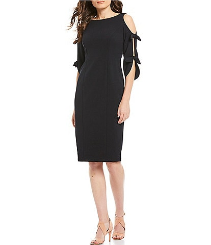Donna Morgan Tie Sleeve Cold Shoulder Stretch Crepe Midi Sheath Dress