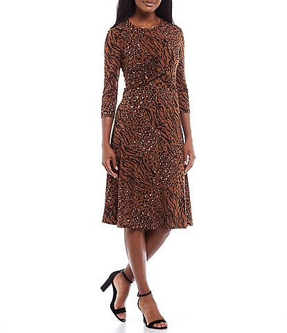 Donna Morgan Twist Front 3/4 Sleeve Mixed Animal Print Matte Jersey Midi Dress