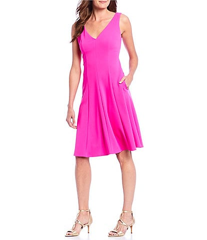 Donna Morgan V-Neck Crepe Sleeveless A-Line Dress