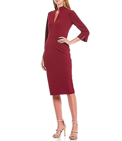 Donna Morgan V-Neck Scuba Crepe 3/4 Sleeve Midi Sheath Dress