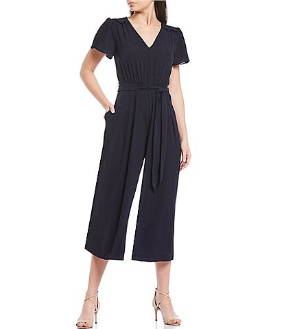 Donna Morgan V-Neck Short Sleeve Smocked Shoulder Tie Waist Cropped Jumpsuit
