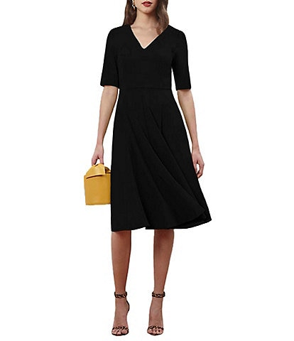 Donna Morgan V-Neck Elbow Sleeve Stretch Crepe Midi Dress With Pocket