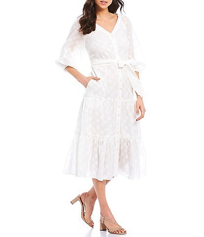 Donna Morgan V-Neck Tie Waist 3/4 Sleeve Tiered Ruffle Midi Dress
