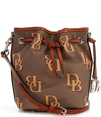 Dooney & Bourke Monogrammed Collection Small Drawstring Bucket Bag
