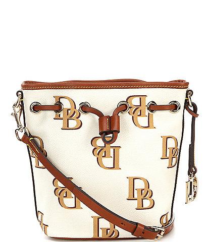 Dooney & Bourke Signature Monogrammed Collection Small Drawstring Bucket Bag