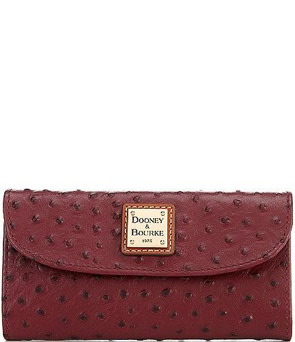 Dooney & Bourke Ostrich Collection Continental Snap Clutch Wallet