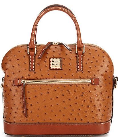 Dooney & Bourke Ostrich Collection Domed Zip Satchel Bag