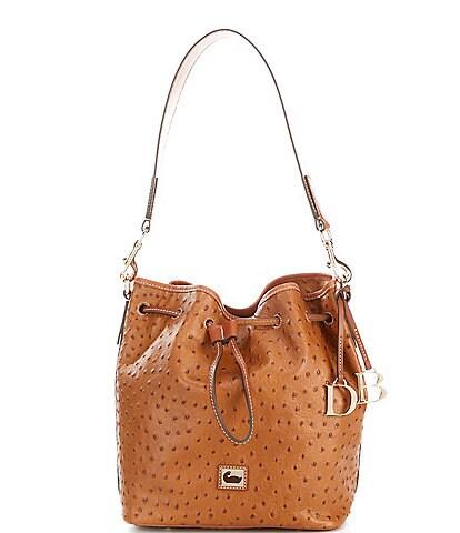 Dooney & Bourke Ostrich Collection Drawstring Bucket Bag