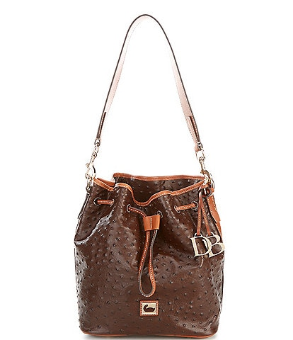 Dooney & Bourke Ostrich Collection Drawstring Bucket Bag
