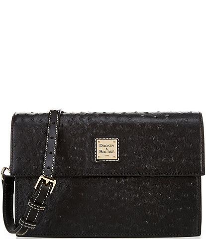 Dooney & Bourke Ostrich Collection East West Flap Shoulder Bag