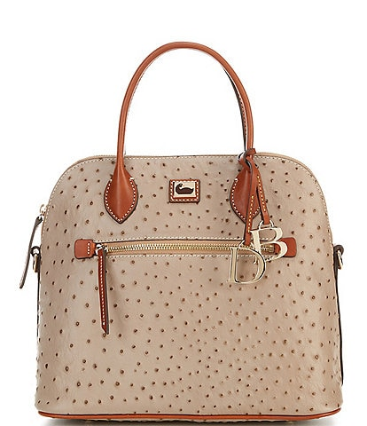 Dooney & Bourke Ostrich Collection Large Domed Satchel Bag