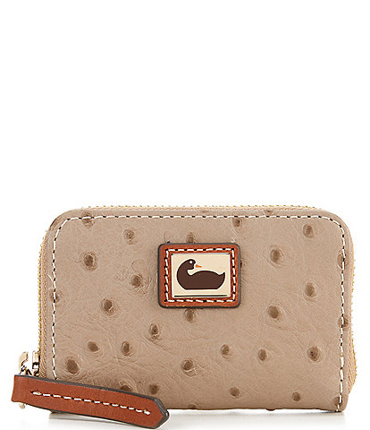 Dooney & Bourke Ostrich Collection Zip Around Credit Card Wallet