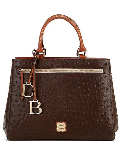 Dooney & Bourke Ostrich Collection Zip Satchel Bag