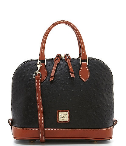 Dooney & Bourke Ostrich Collection Zip Dome Colorblock Satchel Bag