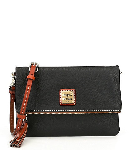 Dooney & Bourke Pebble Collection Fold-Over Tasseled Leather Colorblock Crossbody Bag
