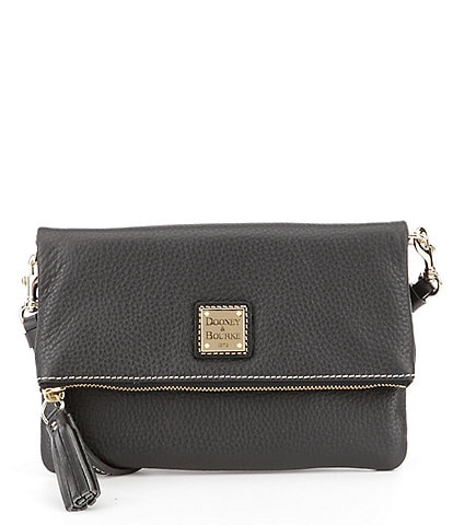 Dooney & Bourke Pebble Collection Fold-Over Tasseled Zip Cross-Body Colorblock Bag