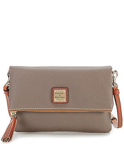 Dooney & Bourke Pebble Collection Fold-Over Tasseled Colorblock Crossbody Bag