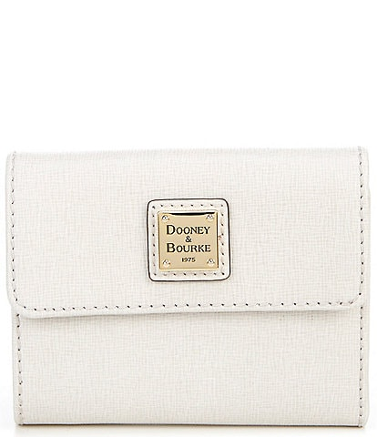 Dooney & Bourke Saffiano Collection Small Leather Flap Tri-Fold Credit Card Wallet