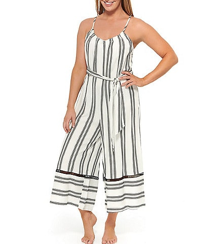 Dotti Newport Stripes Belted Swim Cover Up Jumpsuit