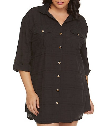 Dotti Plus Size Travel Muse Shirtdress Swim Cover Up