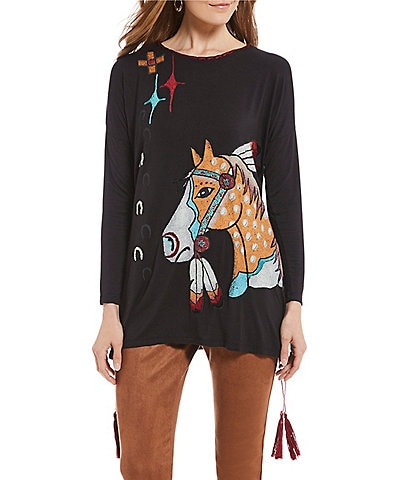 Double D Ranch Nacona Spirit Beaded Horse Graphic Tunic Top
