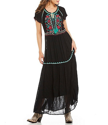 Double D Ranch Sedona Rose Embroidered Maxi Dress