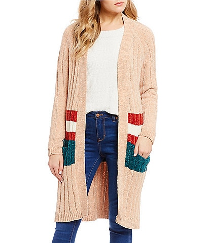 Double Zero Chenille Colorblock Cardigan