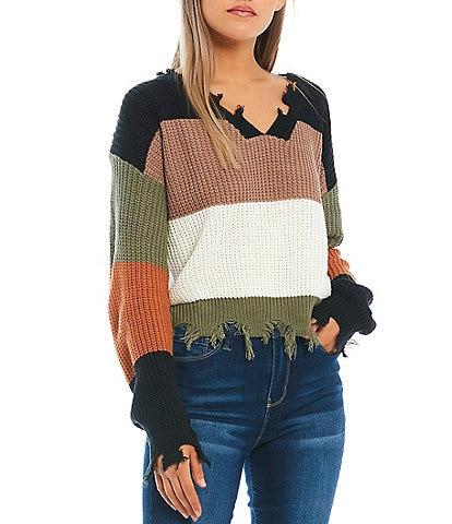 Double Zero Colorblock Frayed Hem Knit Sweater