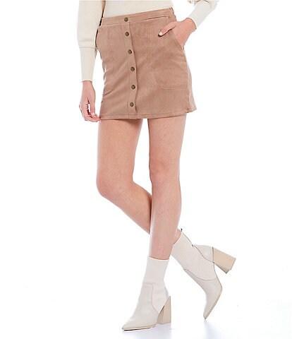 Double Zero Suede Button Front Mini Skirt