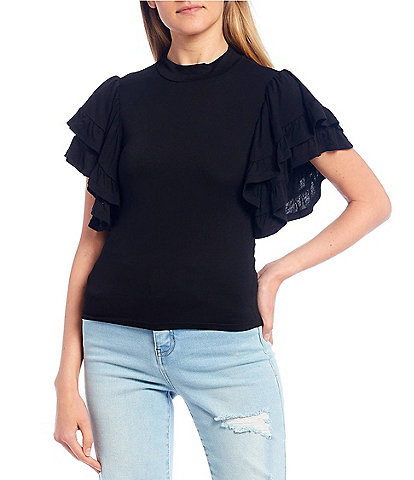 Double Zero Tiered Flutter Sleeve Top