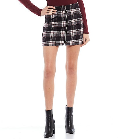 Double Zero Zip Front Tweed Mini Skirt