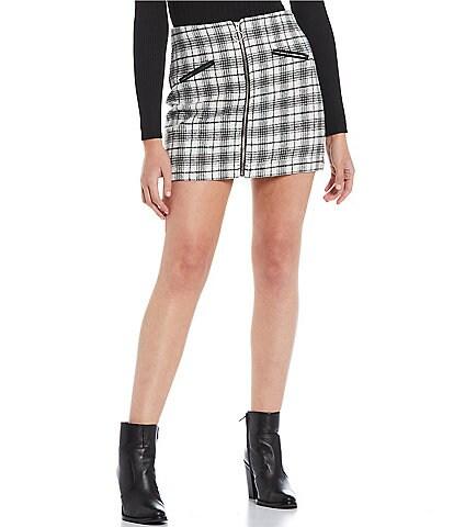 Double Zero Zip Front Tweed Mini Skirt